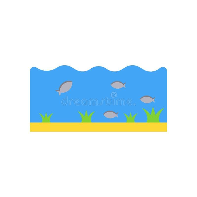 海洋生活象在白色backgroun和标志隔绝的传染媒介标志 皇族释放例证
