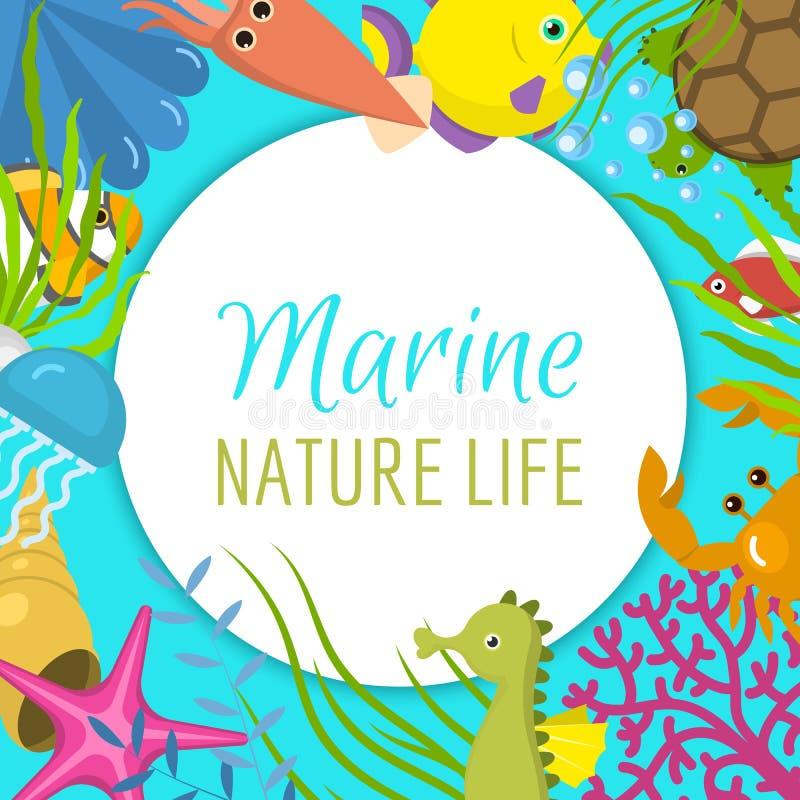 海洋生物框架传染媒介例证 它s夏时横幅,海报 与鸭脚板的水面具 水下的元素 皇族释放例证