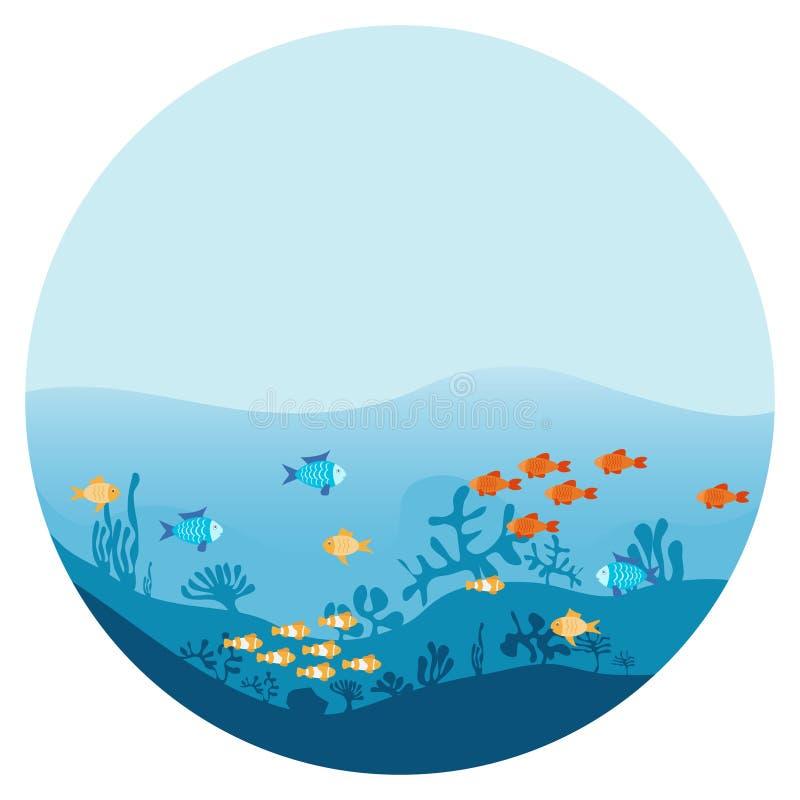 海洋的底部有海草和鱼的 用不同的鱼的海水下的背景 与海藻和珊瑚的海洋场面 皇族释放例证