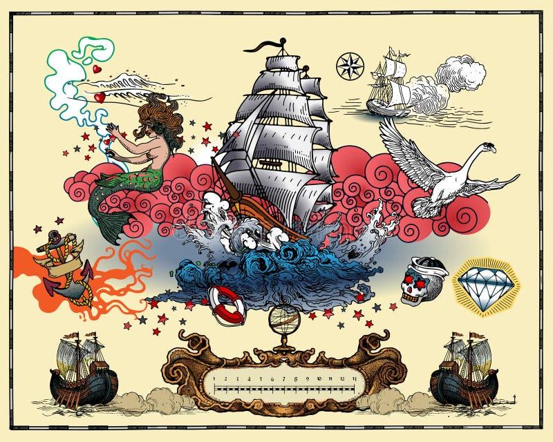 海洋纹身花刺 向量例证
