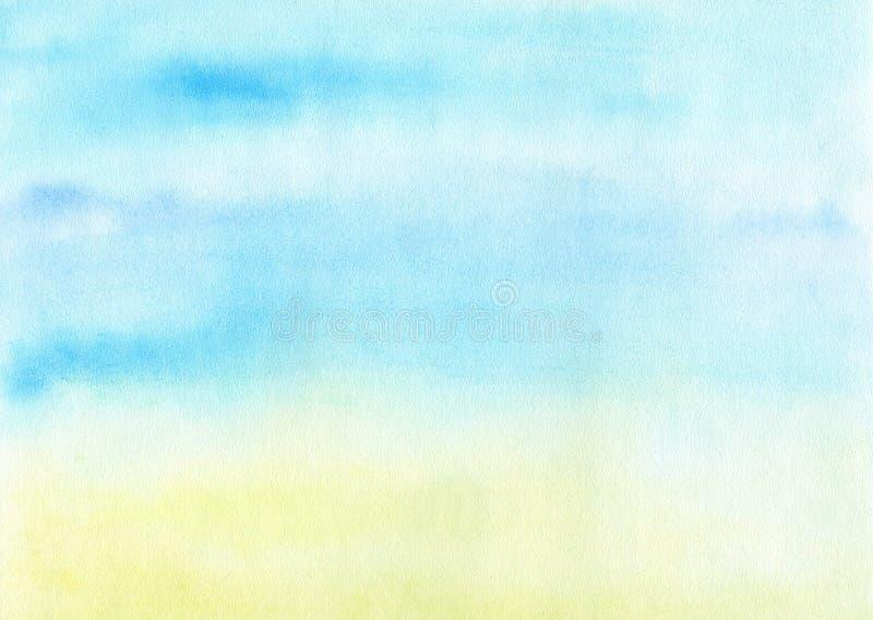 海洋背景水彩 库存例证