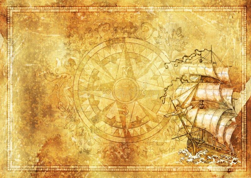 海洋背景,古老帆船,在难看的东西纹理的巴洛克式的装饰的指南针 皇族释放例证