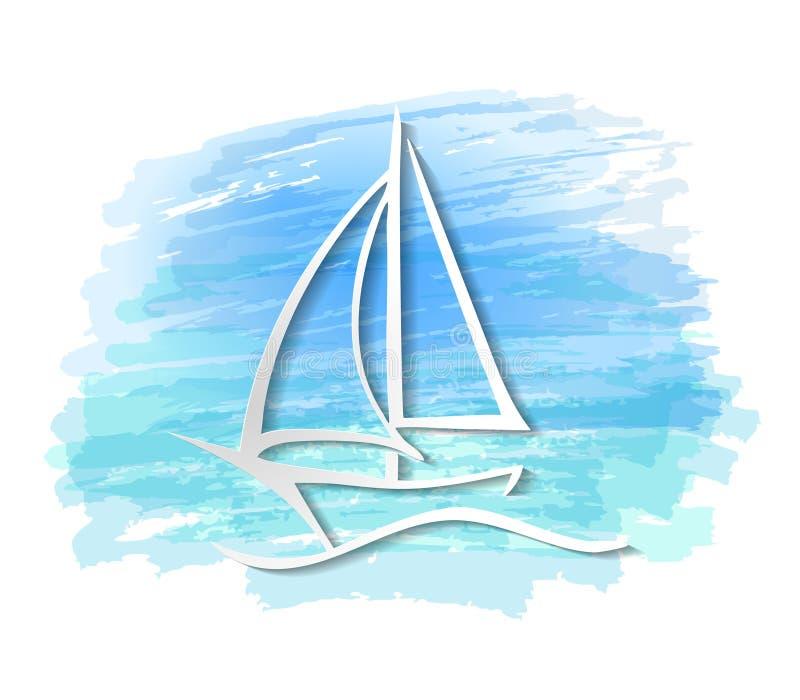 海洋船小船图形设计概述、标志和标志的旅行得出的传染媒介例证或剪影的 库存例证