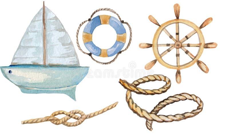 海洋船舶套不同的项目,在白色背景的游艇 印刷品,海报设计的水彩例证, 库存例证