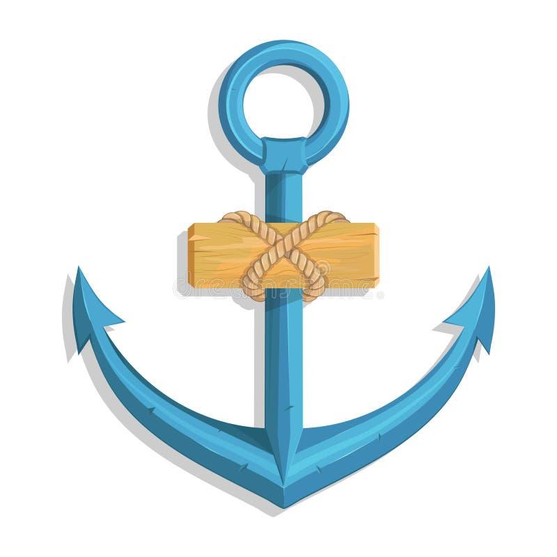 海洋设计的船锚 一个船` s船锚的例证有绳索和船的 皇族释放例证