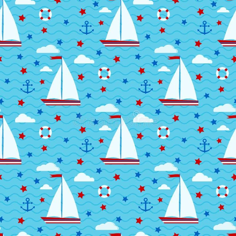 海洋逗人喜爱的与风船,星,云彩,船锚的传染媒介无缝的样式,lifebuoy在海的背景有不尽的波浪的 皇族释放例证
