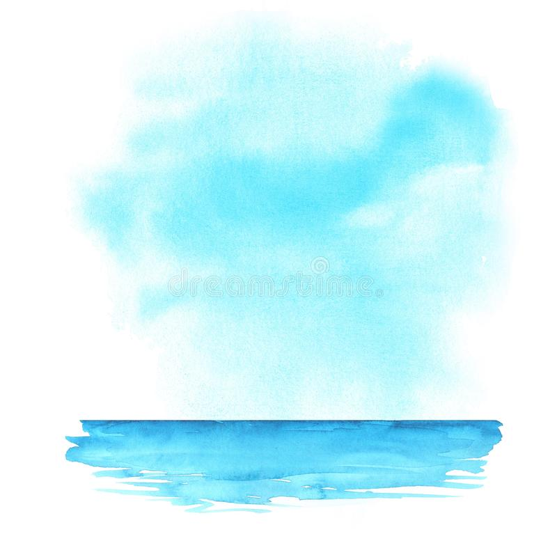 海洋 抽象背景水彩 向量例证