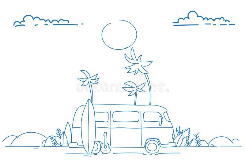 海浪公共汽车日落热带海滩减速火箭的冲浪的葡萄酒暑假贺卡水平的海报剪影乱画手 皇族释放例证