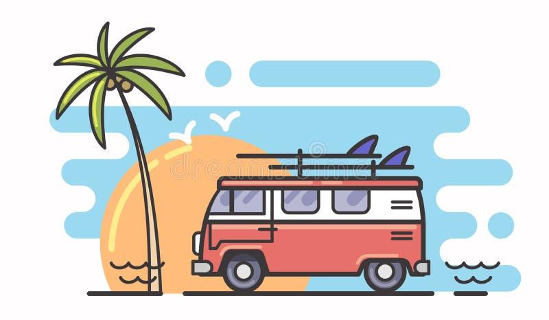 海浪和公共汽车 向量例证