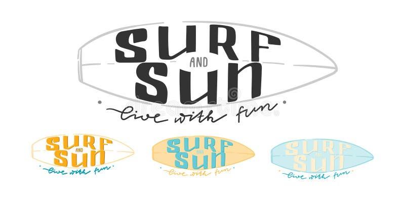 海浪和太阳活与乐趣 r 邮票和别针的夏天印刷品,标签和海报,明信片和 向量例证