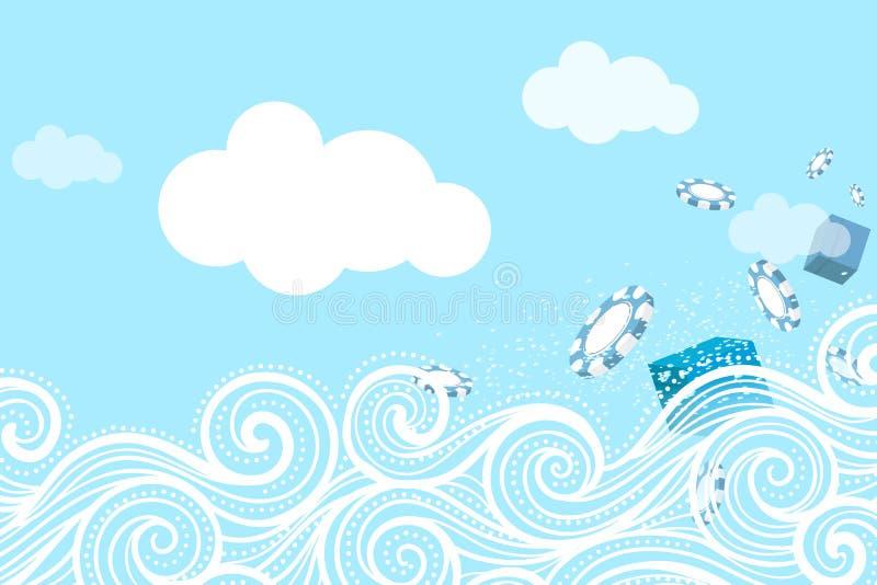 海浪和惊奇飞行碎片和礼物 向量例证