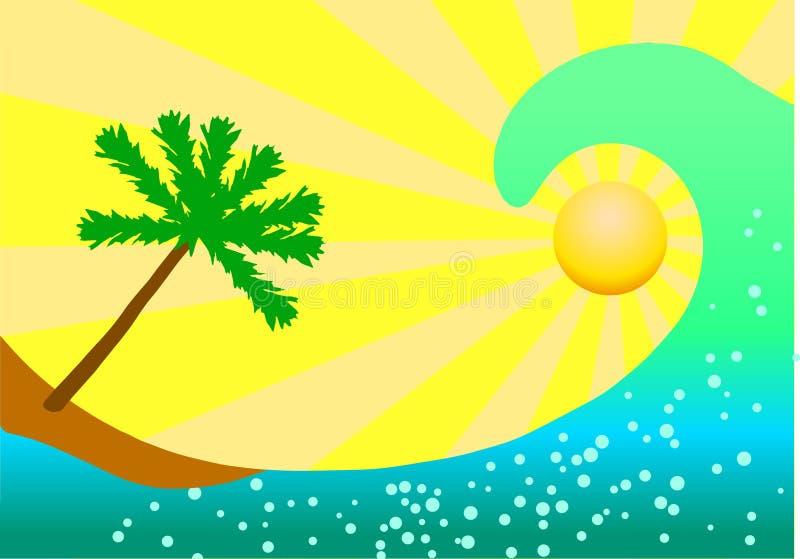 海浪和棕榈树在黄色背景 库存例证