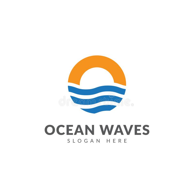 海浪商标模板 皇族释放例证