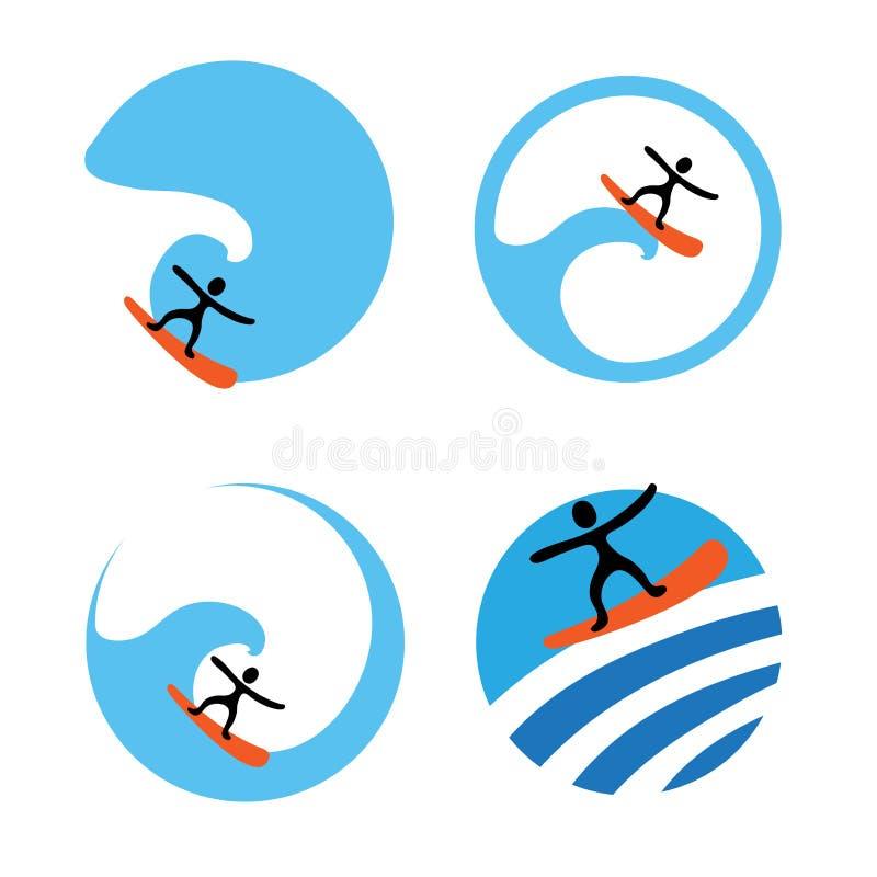 海浪商标集合,传染媒介例证 库存例证