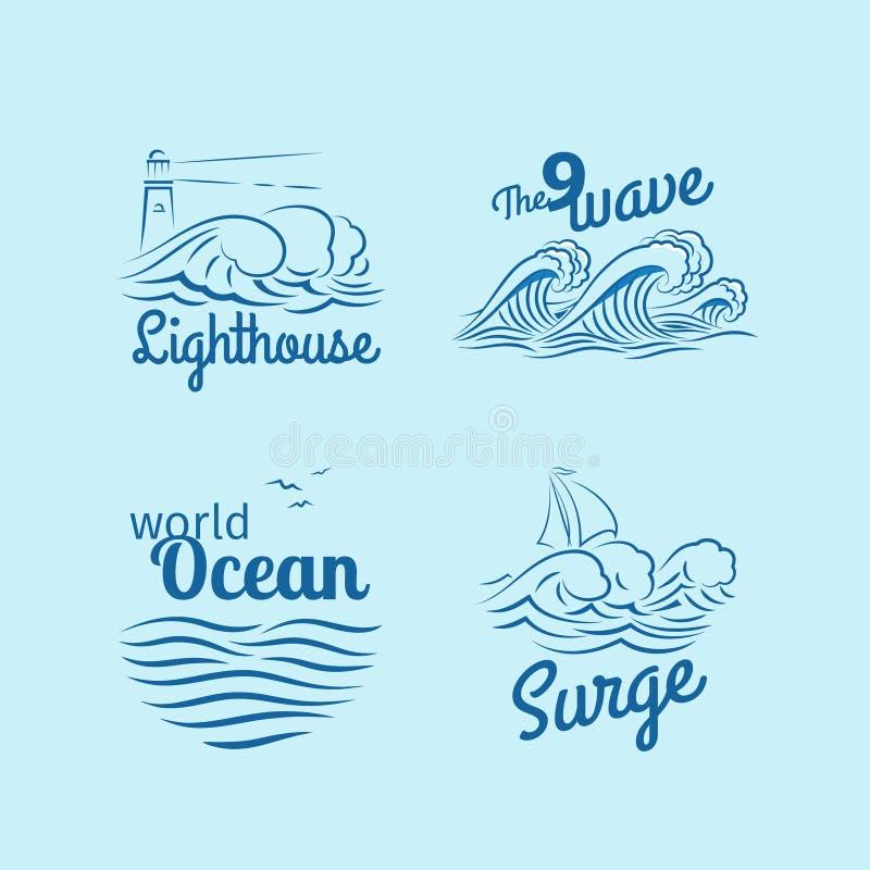 海浪商标集合 库存例证