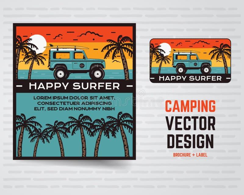 海浪图表海报和商标 愉快的冲浪者标志 补丁的,T恤杉冲浪的设计,打印 设计例证股票您使用的向量 库存例证
