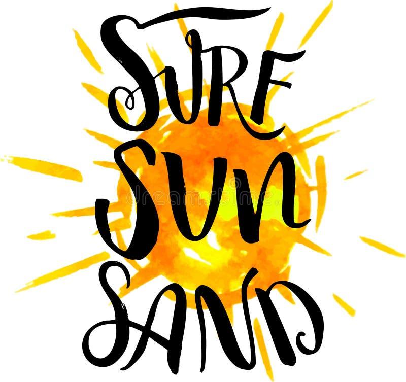 海浪太阳在水彩bakground的沙子书法 向量例证