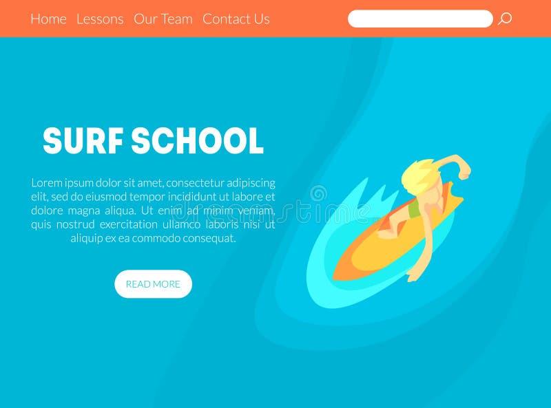 海浪学校着陆与空间的页模板文本和冲浪者在冲浪板的骑马波浪的在海洋传染媒介例证 向量例证