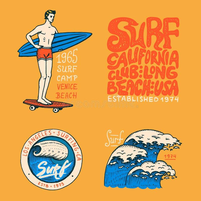 海浪徽章、波浪和海洋 背景减速火箭的葡萄酒 热带和加利福尼亚 冲浪板的人,在海滩的夏天 库存例证