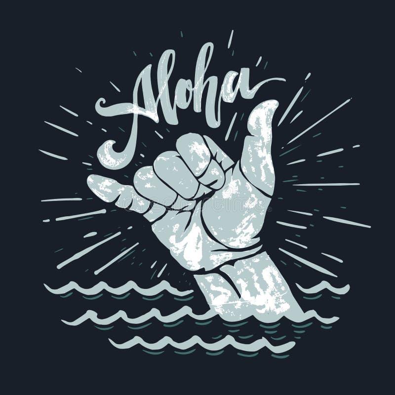 海浪手标志 库存例证