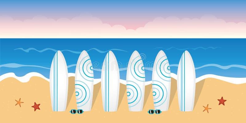 海浪教训的冲浪板在海滩 库存例证