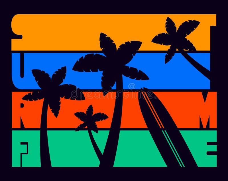 海浪时间T恤杉印刷术图表,传染媒介 向量例证