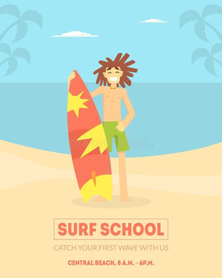 海浪校旗模板,站立与在海滩传染媒介例证的冲浪板的微笑的男性冲浪者, 向量例证