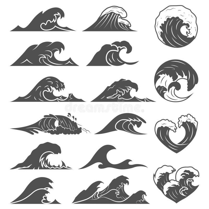 海浪汇集 海被隔绝的风暴波浪 波浪,水元素集 自然波浪水风暴线性样式 皇族释放例证