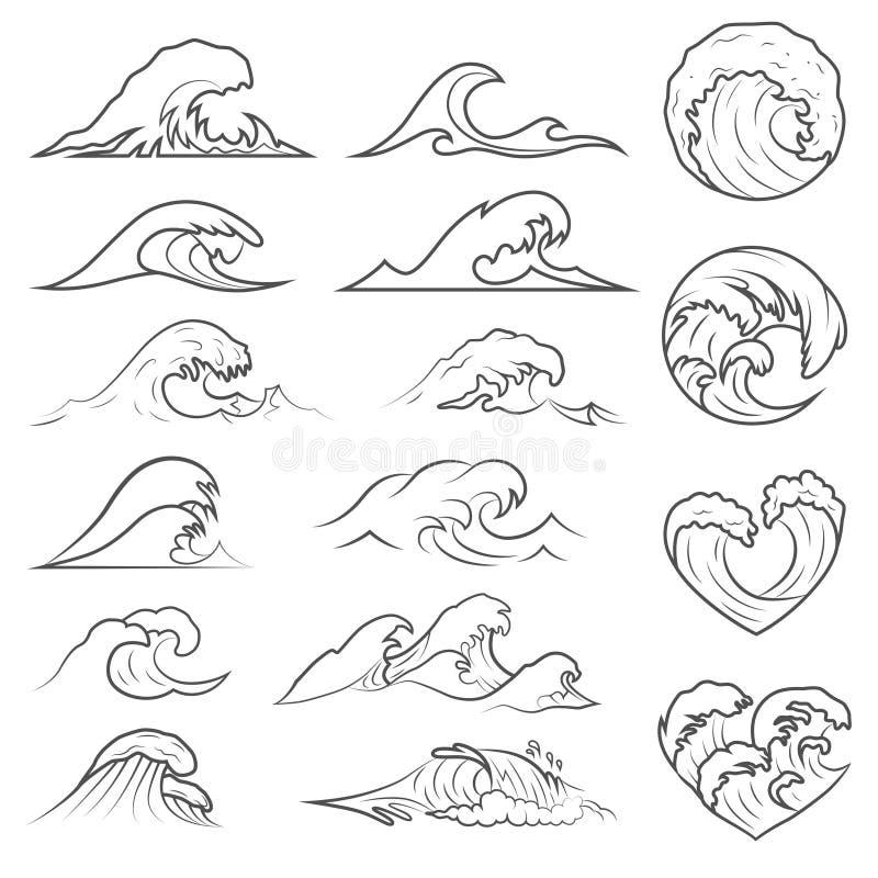海浪汇集 海被隔绝的风暴波浪 波浪,水元素集 自然波浪水风暴线性样式 库存例证