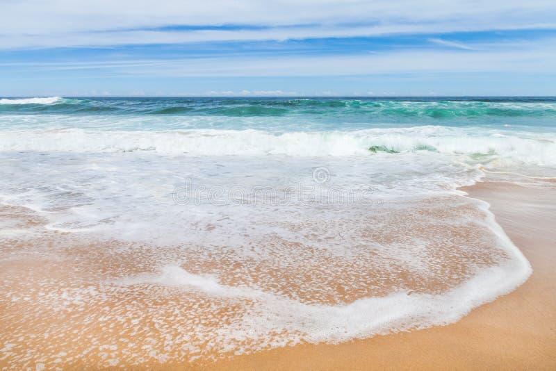 海浪波浪白色波纹反对金黄的铺沙与天空 库存照片