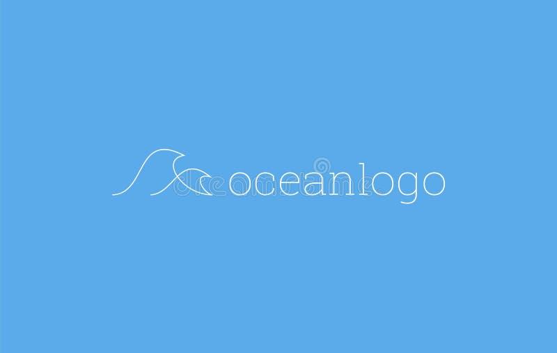 海浪海与稀薄的monoline线象标志简单的最小的设计的波浪商标 库存例证