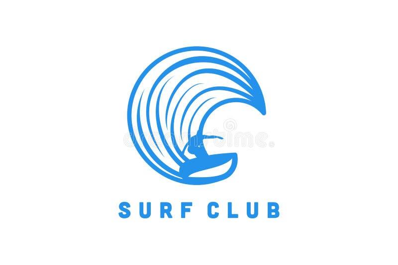 海浪球员、人和波浪商标设计启发隔绝在白色背景 向量例证