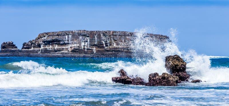 海浪碰撞反对岩石水獭岩石俄勒冈 库存图片