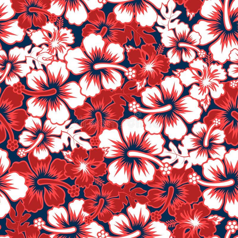 海浪花卉木槿无缝的样式 库存例证