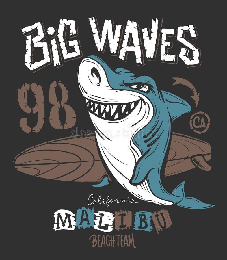 海浪鲨鱼T恤杉印刷品设计,传染媒介例证 向量例证