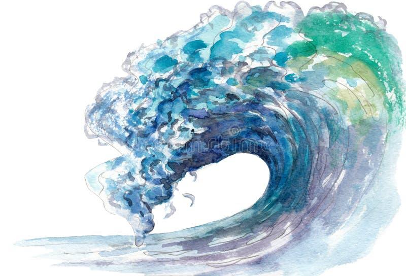 海浪,在白色隔绝的水彩例证 皇族释放例证