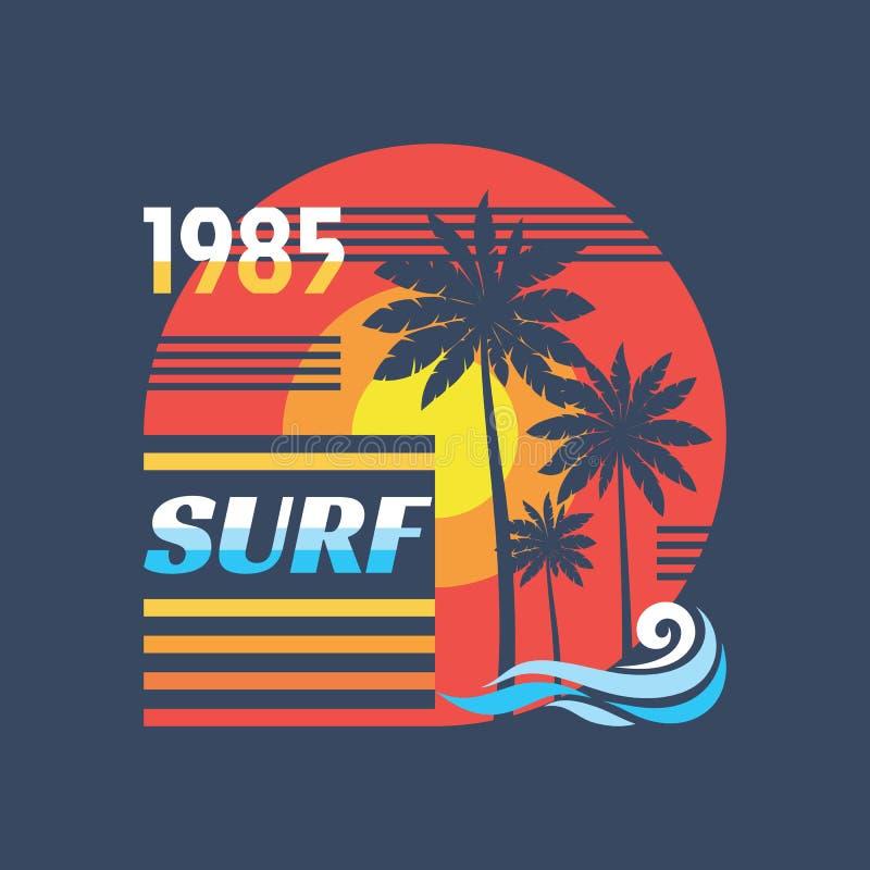 海浪-传染媒介在葡萄酒图表样式的例证概念T恤杉和其他印刷品生产的 棕榈,太阳例证 荒地 向量例证