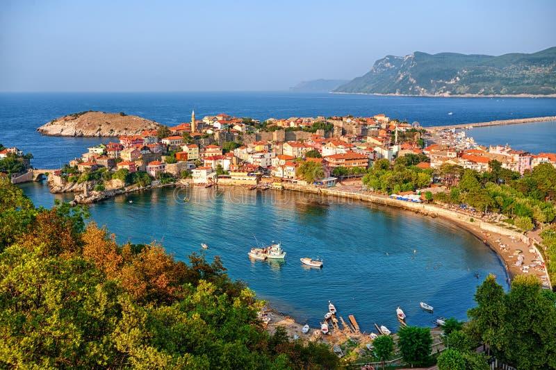 黑海海岸的Amasra镇,土耳其 免版税库存照片
