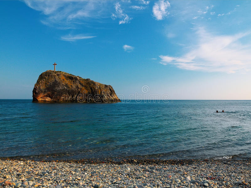 黑海海岸,海角Fiolent 克里米亚 免版税库存图片