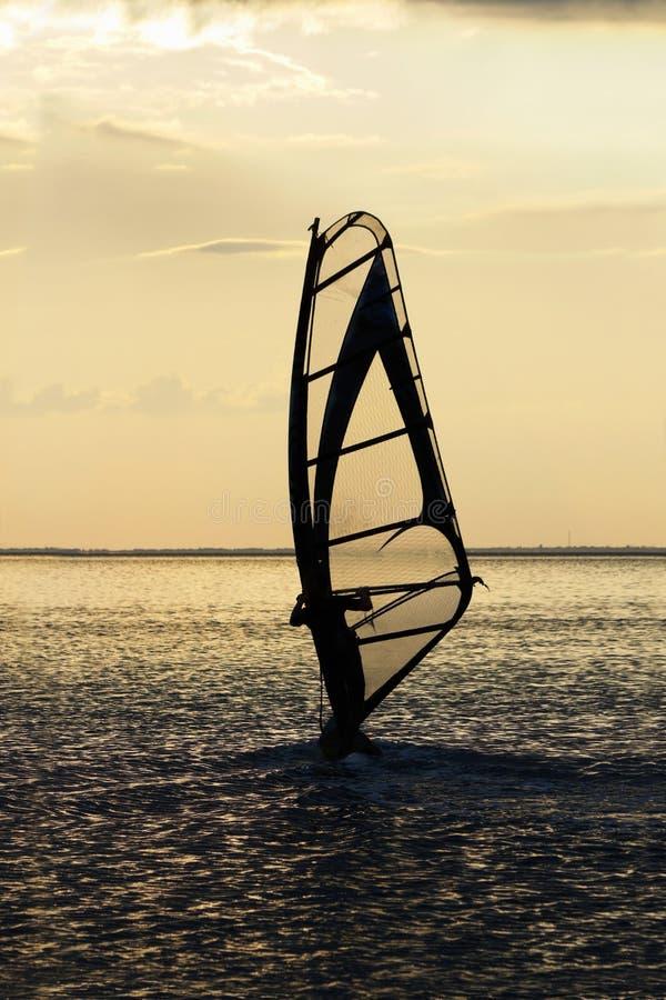 海海湾表面上的风帆冲浪者 免版税库存照片