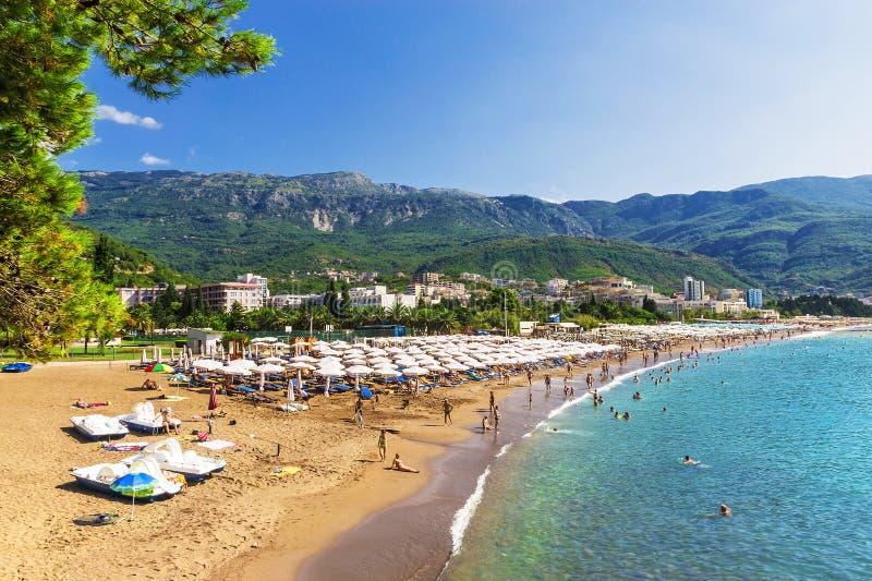 海海滩在布德瓦,黑山 库存图片