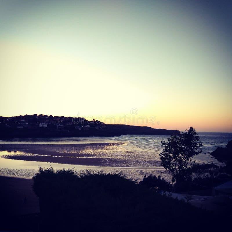 海海滩日落 库存照片