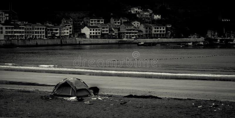 海海滩帐篷 免版税库存照片