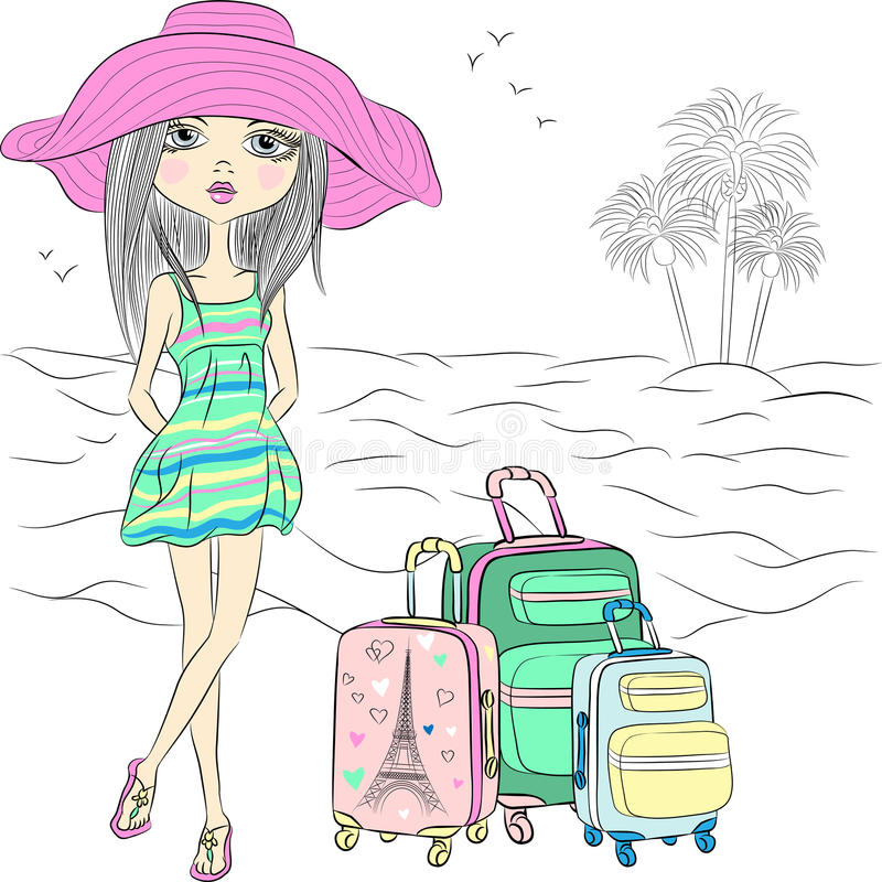海海滩的传染媒介美丽的时尚女孩 皇族释放例证