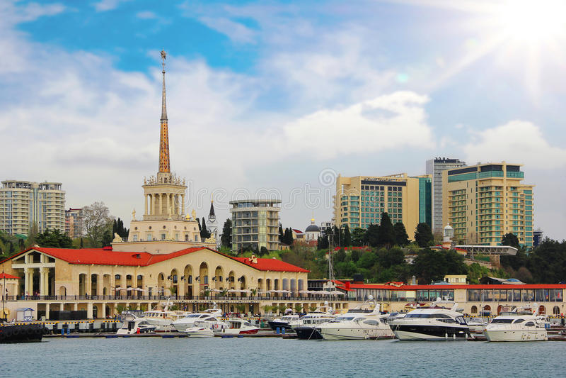 海港小游艇船坞在索契,俄罗斯 图库摄影