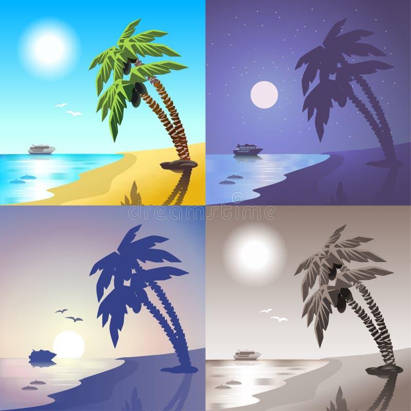 海游轮和夏天热带棕榈滩海岛场面集合 向量例证