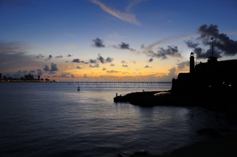 海湾入口哈瓦那日落 免版税图库摄影