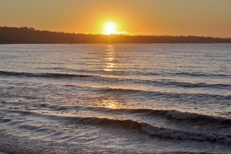海湾加利福尼亚蒙特里日落 免版税库存图片