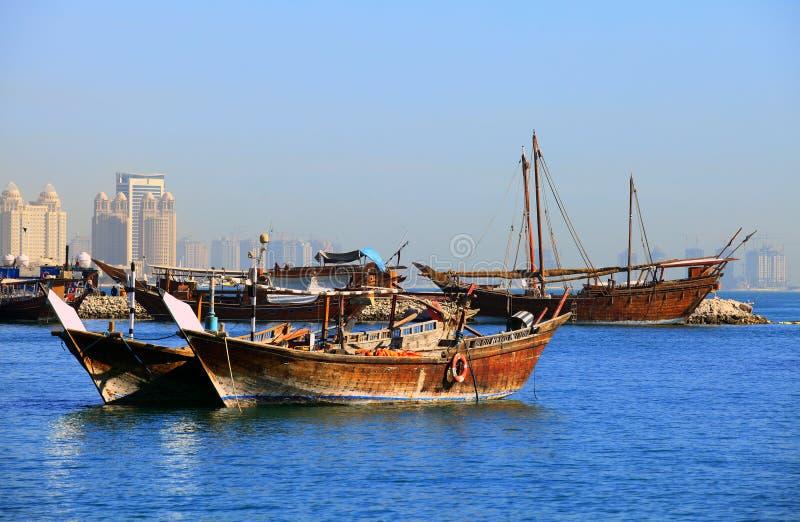 海湾单桅三角帆船多哈 免版税库存照片