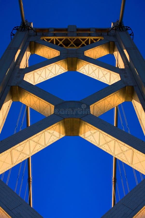 海湾在日落的桥梁塔 免版税库存照片
